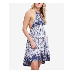 Free People Blue Printed Sleeveless Dress- Small